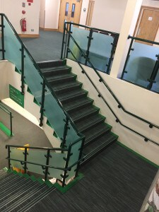 Wodson Park, Ware. Commercial Floor installed on stairway by All The Floors.