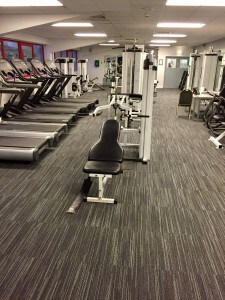 Hard wearing floor tiles installed at Wodson Park, Ware. Commercial flooring solutions.