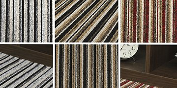 Striped carpet samples. All The Floors. Domestic and Commercial Flooring Specialists. Hertfordshire.