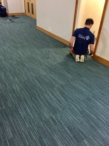 Lobby flooring being installed by All The Floors at Wodson Park, Ware. All The Floors, Domestic and Commercial flooring specialists.